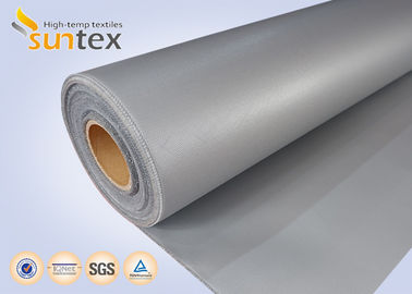 China 16 OZ Thermal Insulation Cover Silicone Coated Fiberglass Fabric Cloth Grey No Oil Dropping supplier