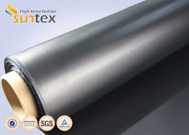 China Air Condition System Chemical Resistant Fabric For Flexible Duct Connector Neoprene Black Fiberglass Fabric supplier