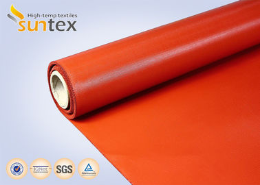 China Red Medium Duty Industrial Fire Blanket Roll Material Silicone Coated Fiberglass Fabric distributor