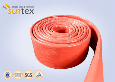 China 550C Heat Resistant Silicone Fiberglass Sleeve Insulation Cable Pipe Protection factory
