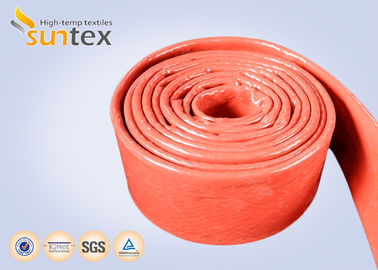 China Flame Protection Red High Temp Fiberglass Sleeving Hose And Cable Thermal Barriers factory