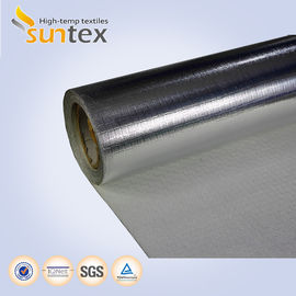 China Heat Reflective Silver Aluminum Fiberglass Cloth Laminated Glass Fiber Fabrics For Fire Blankets factory