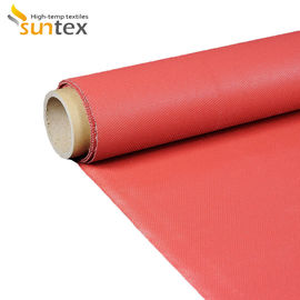 China 550C Red Silicone Coated Fiberglass Fabric Flame And Chemical Resistant Fireproof Heat Insulation factory